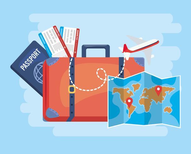 Mala com passaporte e mapa vetor