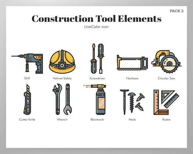 Elementos da ferramenta de construção LineColor pack vetor