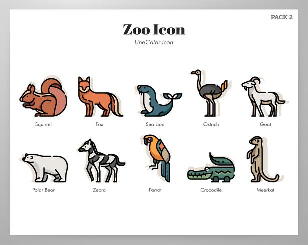 Ícones do zoológico LineColor pack vetor