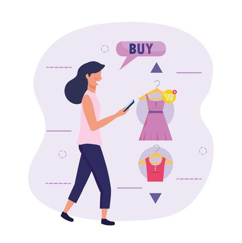 Mulher com tecnologia de smartphone e compras on-line vetor
