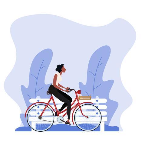 mulher de estilo vintage, andar de bicicleta vetor