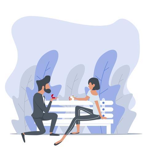 Homem propõe uma mulher sentada no banco vetor