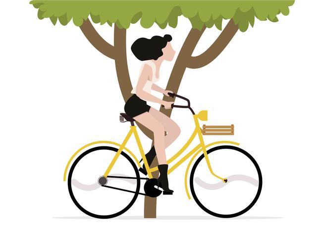 mulher andando de bicicleta com árvore vetor