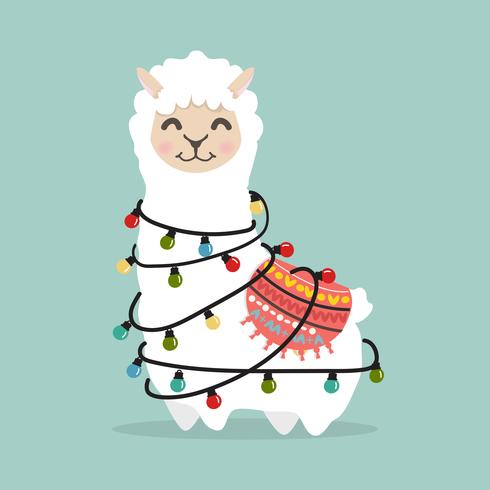 alpaca de lhama fofa com lâmpada vetor