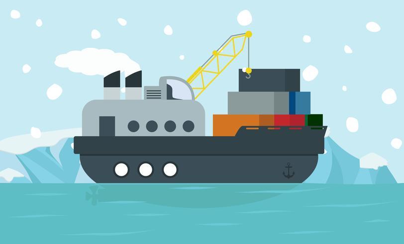 Contêiner de navio de carga na paisagem do Ártico do Pólo Norte vetor