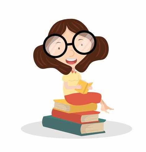 Senhora lendo o livro sentado no livro da pilha vetor