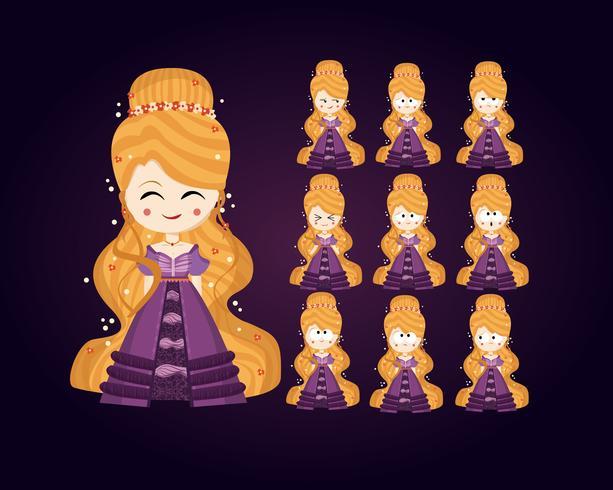 conjunto de caracteres da princesa vetor