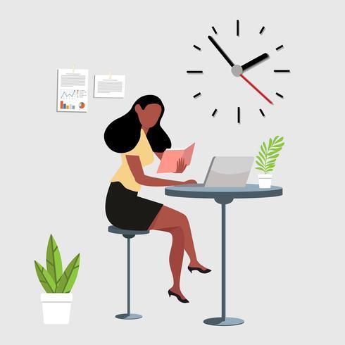 mulher lendo um livro com espaço de trabalho do computador vetor