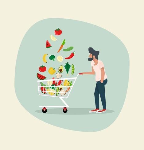 homem com legumes no carrinho de compras vetor