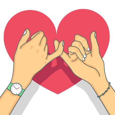 Promessa de mão desenhada mindinho com coração vetor
