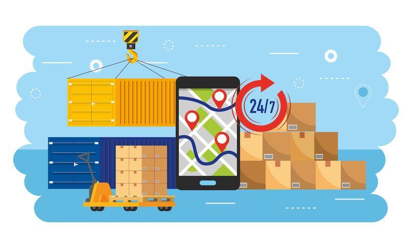 Rastreamento GPS para smartphone com contêineres e caixas vetor
