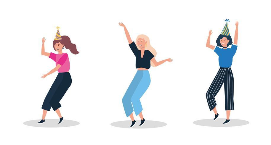 Conjunto de mulheres dançando com chapéus de festa vetor