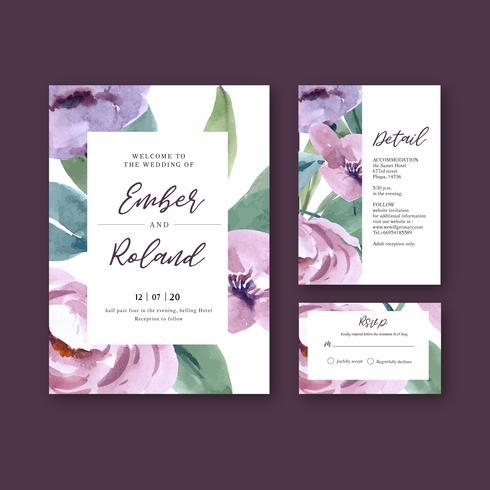 Conjunto de cartão de convite de casamento roxo floral aquarela bonita vetor