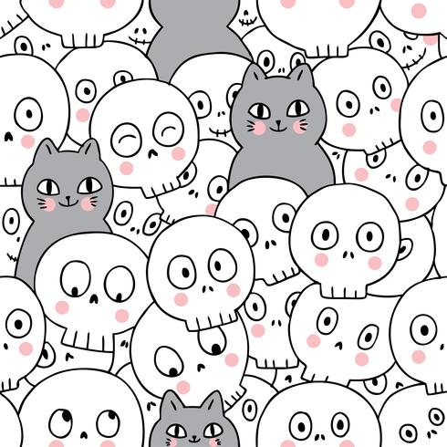 Gatos e esqueleto sem costura padrão vetor