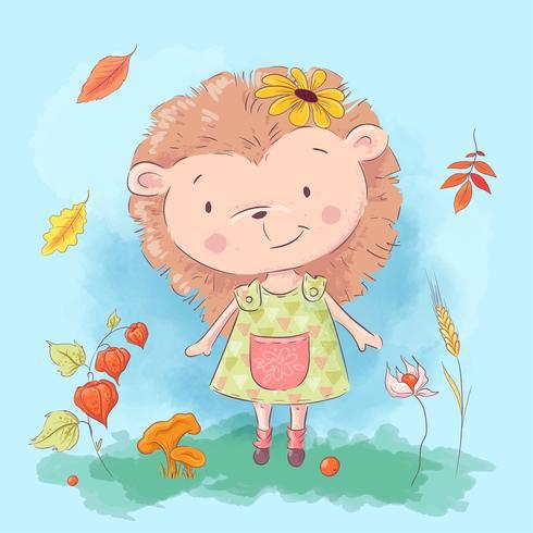 Ouriço bonito dos desenhos animados e flores e folhas de outono vetor