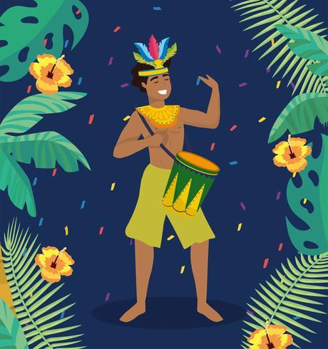 Músico de carnaval masculino com tambor e fantasia vetor