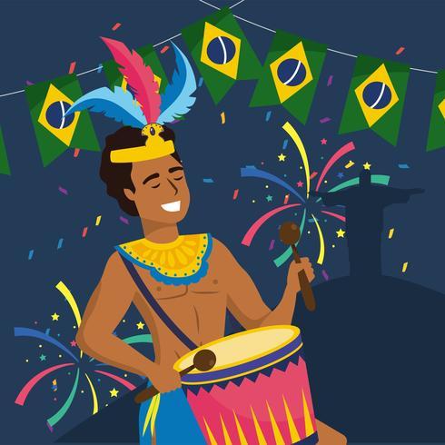 Músico de carnaval masculino com tambor com banner da bandeira brasileira vetor