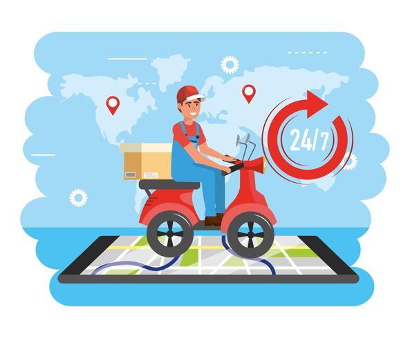Entregador de scooter com pacote com mapa de smartphone vetor