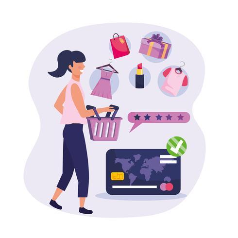 Mulher às compras com cesta e mercadoria de varejo vetor