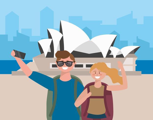 Jovem casal tomando selfie na frente da ópera de Sydney vetor