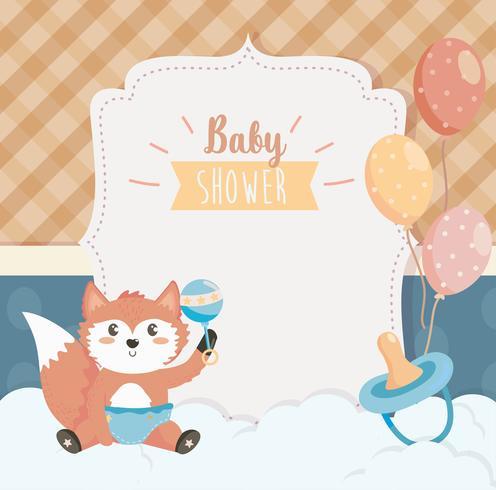 Cartão de chuveiro de bebê com raposa na fralda vetor