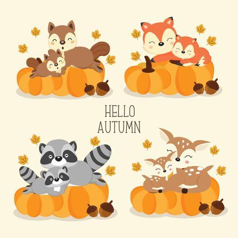 Animais da floresta bonito no outono. vetor