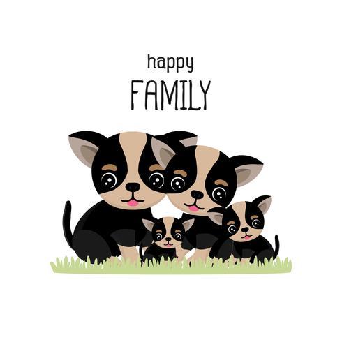 Desenho de família feliz chihuahua bonito. vetor