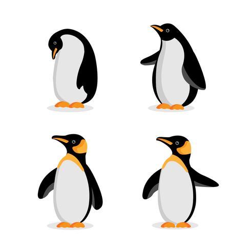 Desenho de pinguim fofinho em poses diferentes vetor