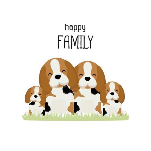 Desenho animado feliz família beagle bonito. vetor