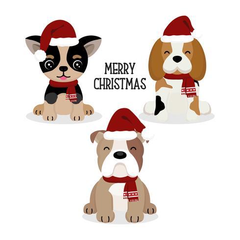 Cachorro fofo no chapéu de Natal. vetor