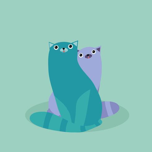 Gatos adoráveis vetor