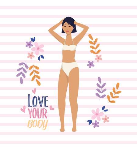 Jovem mulher em roupa íntima com amor sua mensagem do corpo vetor