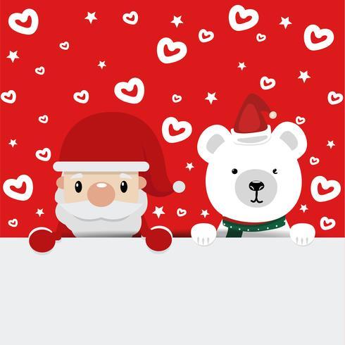 Papai Noel e urso com fundo vermelho vetor