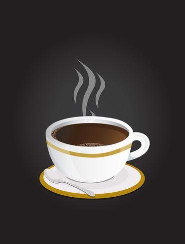 Xícara de café preto com colher vetor
