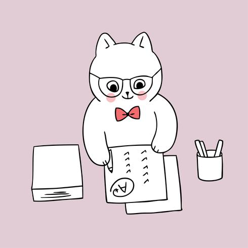 de volta à escola, papel de escrita do gato do professor vetor