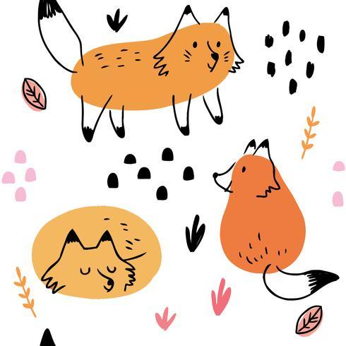 Padrão de raposa vetor