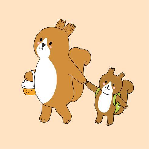 esquilos mãe e bebê vetor