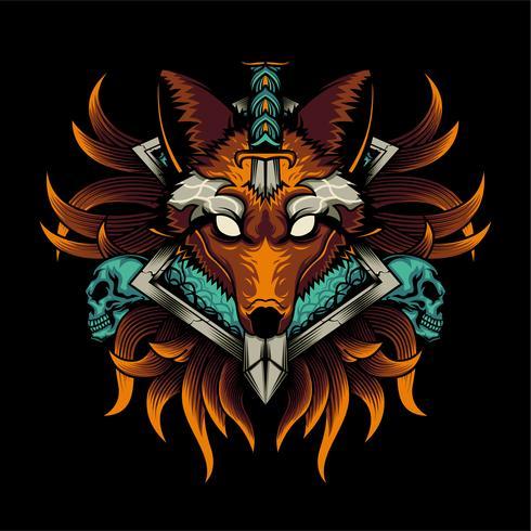 ilustração colorida de lobo vetor