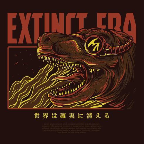 design de camiseta de ilustração vetorial de dinossauro vetor