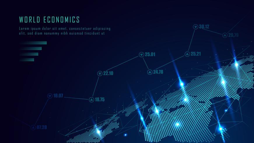 Mapa mundial com gráfico no conceito futurista vetor