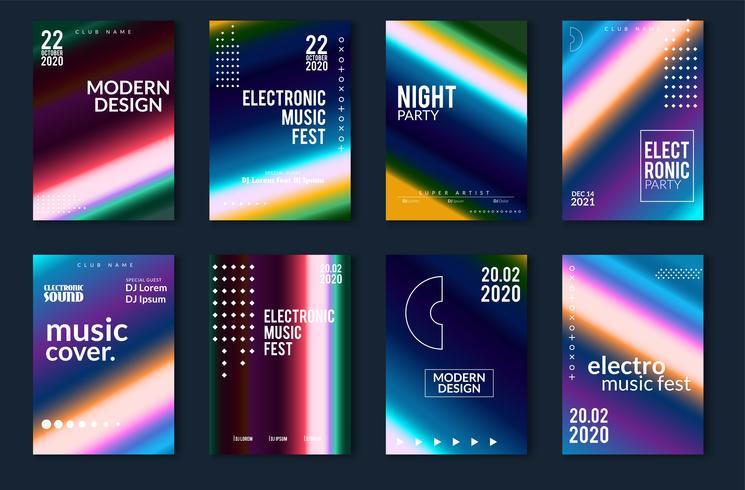 Conjunto de fundos gradientes com design moderno vetor