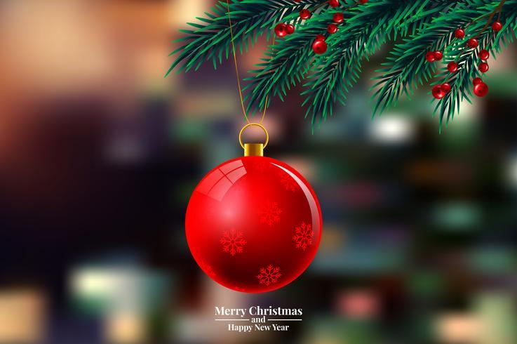 Galhos de árvore de Natal com enfeite vetor