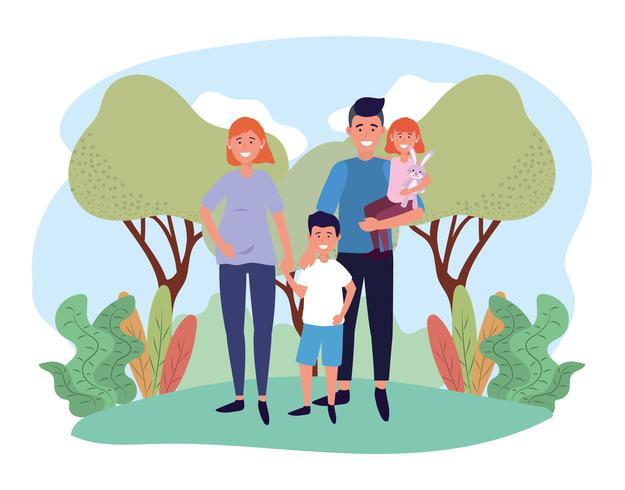 Família bonita com crianças cabelos ruivos e escuros no parque vetor