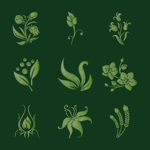 Conjunto de flores bordadas em verde vetor