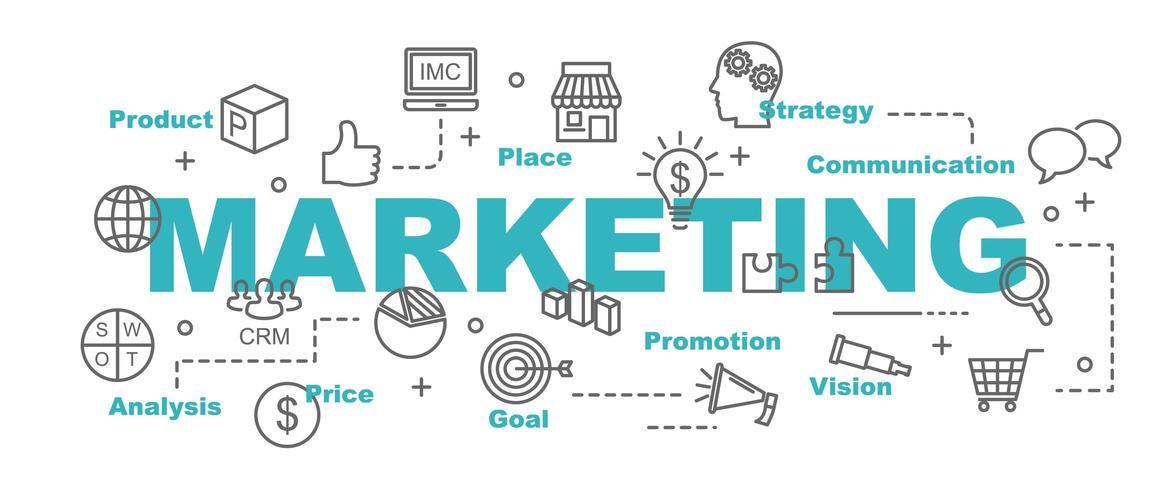 banner de vetor marketing com ícones de negócios
