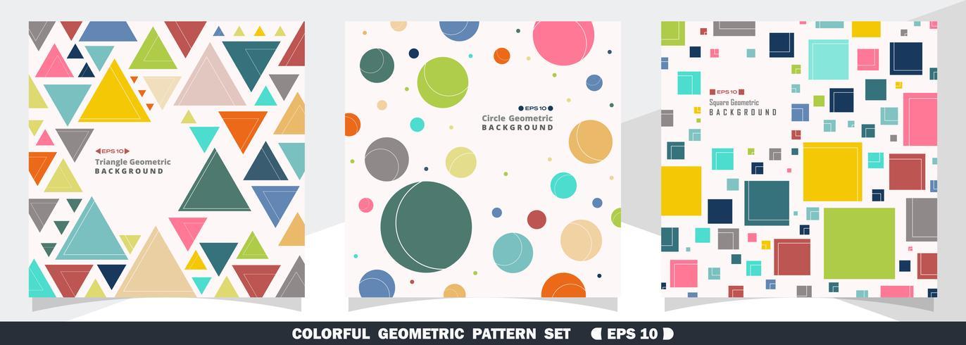 Pacote de padrão geométrico colorido vetor