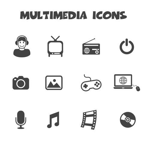 símbolo de ícones multimídia vetor