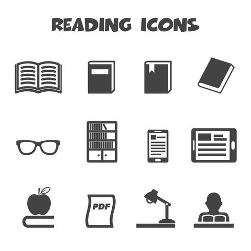 lendo o símbolo de ícones vetor