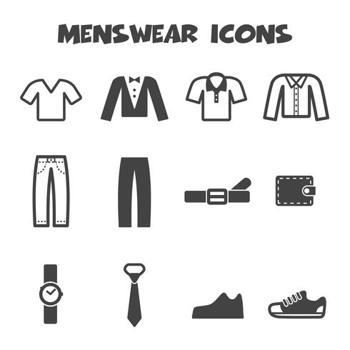símbolo de ícones de moda masculina vetor