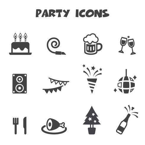 símbolo de ícones de festa vetor